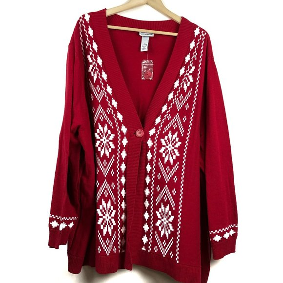 nwot Catherines Cardigan Sweater 4x Red White